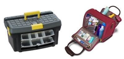 Cassetta porta-attrezzi e beauty-case
